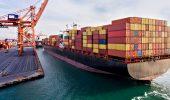 Cargo ship at a port.